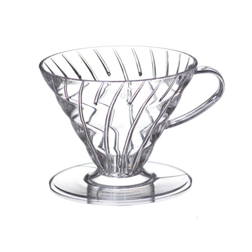 HARIO V60 Drip Filter Coffee Maker - Size 02 - 1-4 Cup - Clear Plastic