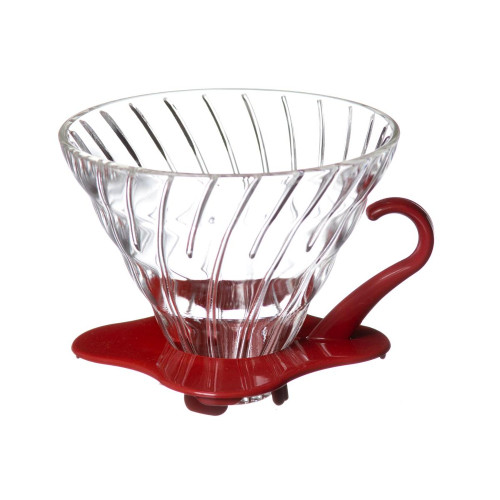 Hario V60 Coffee Dripper 02 Tempered Glass - Red Handle 1-4 Cup
