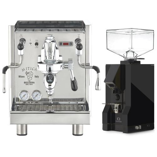 Bezzera Mitica e61 Espresso Coffee Machine and Eureka Mignon Silenzio Black Coffee Grinder Combo