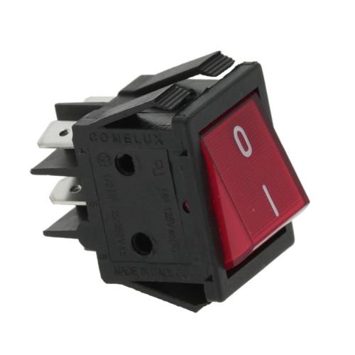 Bipolar Red Illuminated Switch 0-1 DPST 16A 250V 22x30 mm