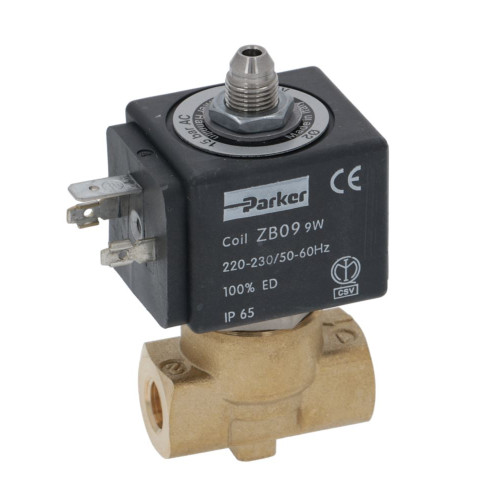 "3-Way Solenoid Valve 1/8"" BSPF - 1/8"" BSPM conical outlet - 230V - 9W - ZB09 - PARKER"