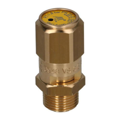 Boiler Pressure Release Safety Valve 1.8 bar 3/8 BSPM CE Hex Body