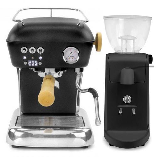 ASCASO DREAM PID Espresso Coffee Machine - ASCASO I-MINI Doser-less Coffee Grinder - MATTE BLACK - Combo