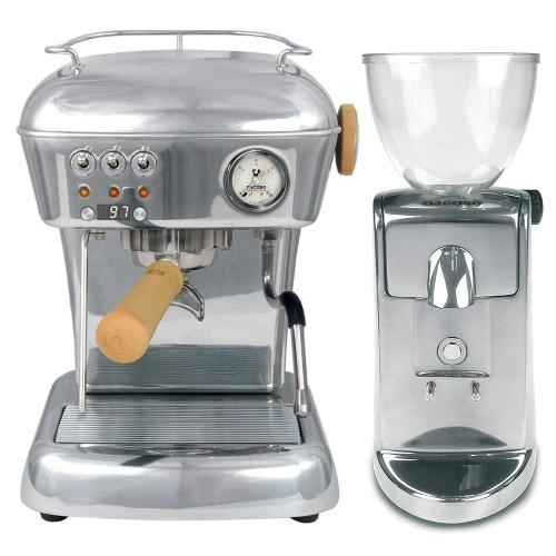 ASCASO DREAM PID Espresso Coffee Machine - ASCASO I-MINI Doser-less Coffee Grinder - POLISHED ALUMINIUM - Combo
