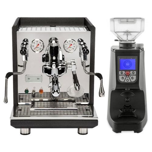 ECM Synchronika e61 Double Boiler PID 0.75/2 L Rotary Pump Espresso Coffee Machine - Matte Black Anthracite - Eureka Atom Coffee Grinder Black Combo