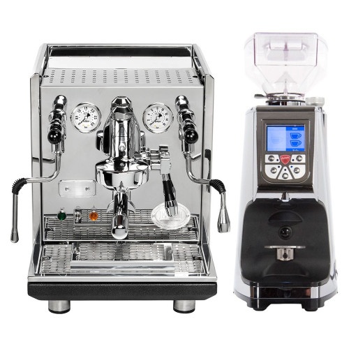 ECM Synchronika PID e61 Lever Double Boiler 0.75/2.0 litre Rotary Pump Tank/Plumb Espresso Coffee Machine - Eureka Atom Doser-less Coffee Grinder Stainless/Chrome Combo