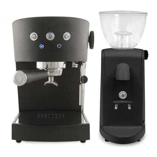 ASCASO Basic Espresso Coffee Machine Matte Black and I-Mini Grinder Matte Black Combo