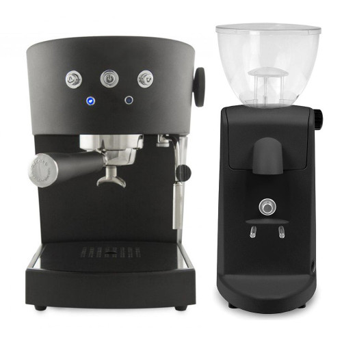 ASCASO Basic Espresso Coffee Machine Matte Black and I-Mini Grinder Matte Black Combo
