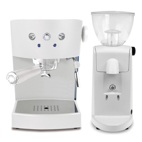 ASCASO Basic Espresso Coffee Machine Matte White and I-Mini Grinder Matte White Combo