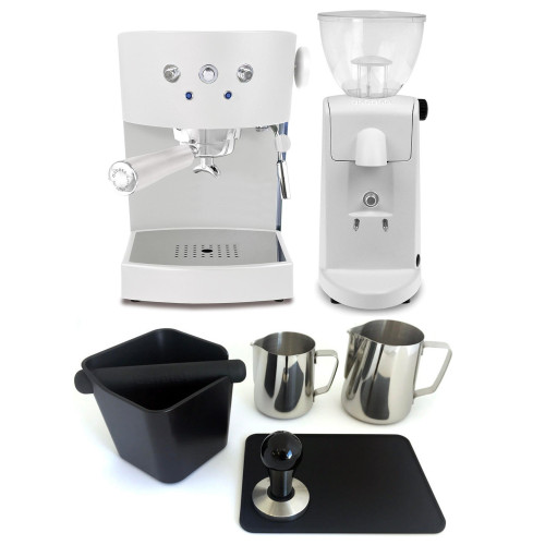 ASCASO BASIC V3 Espresso Coffee Machine - ASCASO I-MINI I-1 Coffee Grinder - WHITE - Combo - With Accessory Package