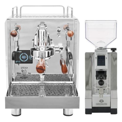 BEZZERA DUO PID e61 Lever 0.45/1.0 litre Rotary Pump Tank and/or Plumbed Espresso Coffee Machine - Eureka Mignon Specialita Chrome Doser-less Coffee Grinder Combo