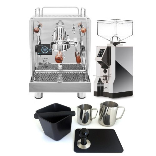 BEZZERA DUO e61 Double Boiler PID 0.45/1.0L Espresso Coffee Machine - EUREKA MIGNON SPECIALITA Coffee Grinder - CHROME - Package - With Accessories