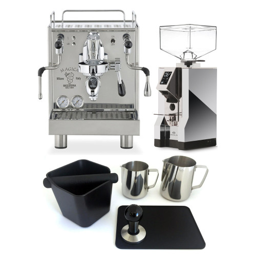 BEZZERA MAGICA e61 2L Espresso Coffee Machine - EUREKA MIGNON SPECIALITA Coffee Grinder - CHROME - Combo - With Accessory Package