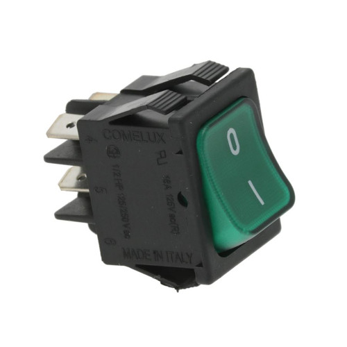 "Green Illuminated DPST Switch ""I/O"" - 30x22 mm - 16A 250V"