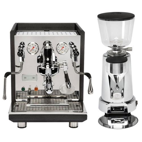 ECM Synchronika PID e61 Lever Double Boiler 0.75/2.0 litre Rotary Pump Tank/Plumb Espresso Coffee Machine Matte Black Anthracite - ECM Titan 64mm Chrome Coffee Grinder Combo