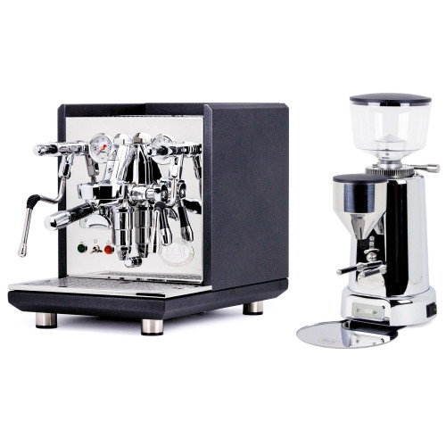 ECM SYNCHRONIKA e61 Double Boiler PID 0.75/2L Espresso Coffee Machine - V3 - MATTE BLACK ANTHRACITE - ECM TITAN Doser-less Coffee Grinder - Package