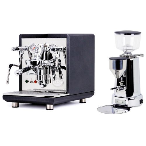 ECM SYNCHRONIKA e61 Double Boiler PID 0.75/2L Espresso Coffee Machine - V3 - MATTE BLACK ANTHRACITE - ECM TITAN Doser-less Coffee Grinder - Package