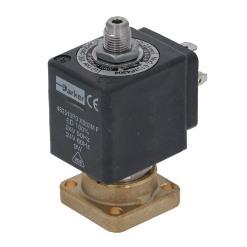3-Way Solenoid Valve PARKER / LUCIFER flat base 1/8 BSP conical outlet 24 V
