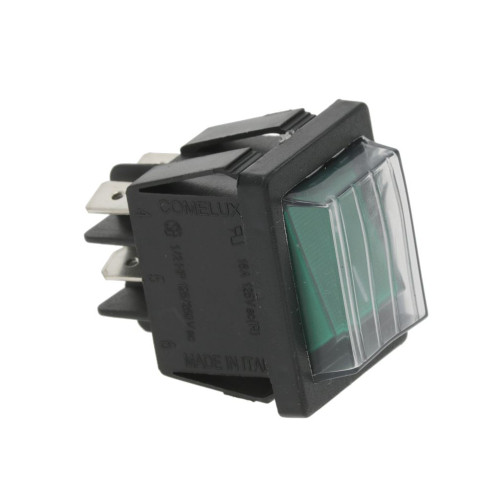 Bipolar Switch Green I-0 DPST 16A 250V 22mmx30mm with Cover
