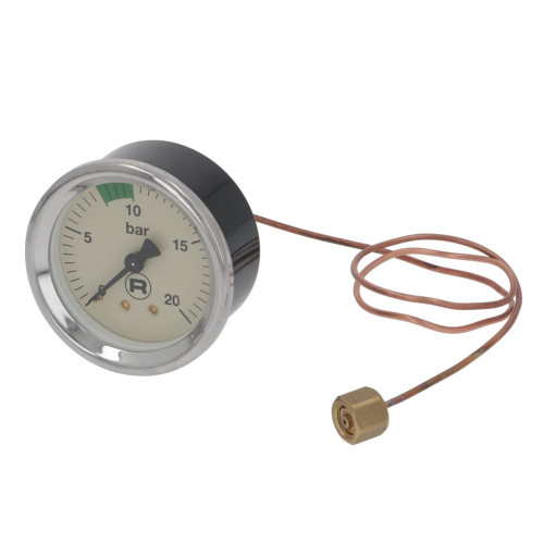 "Pump Pressure Gauge 0 to 20 bar Beige Face OD 65 mm Hole 60 mm 1/8 "" BSPF Connection - ROCKET"
