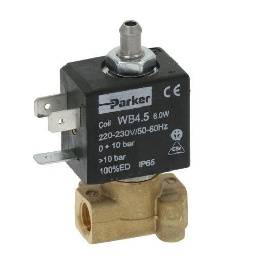"""3-Way Solenoid Valve 1/8 """" BSPF - 7mm barbed outlet - 230V - 6 W - WB4.5 - PARKER"""