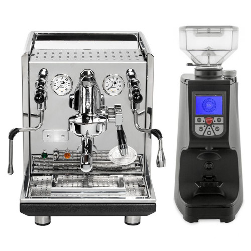 ECM Synchronika e61 Double Boiler PID 0.75/2 L Rotary Pump Espresso Coffee Machine - Stainless Steel - Eureka Atom Coffee Grinder Black Combo