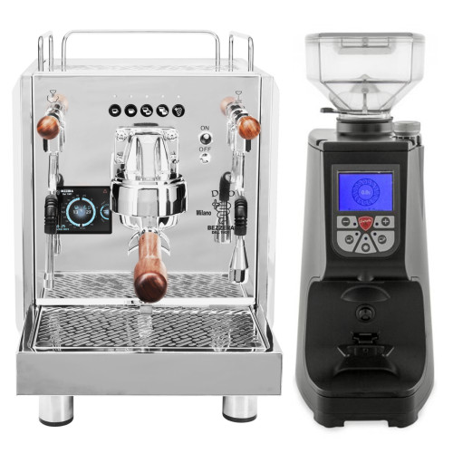 BEZZERA DUO PID Electronic Dose 0.45/1.0 litre Rotary Pump Tank and/or Plumbed Espresso Coffee Machine - Eureka Atom Black Doser-less Coffee Grinder Combo