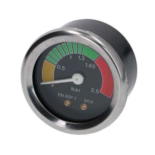 "Boiler Pump Pressure Gauge / Manometer - Black Face - OD 57mm Hole 52mm 1/4"" BSPM Connection"