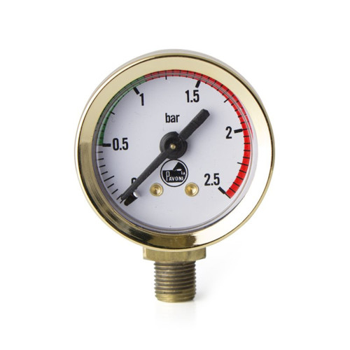 "Boiler Pressure Gauge / Manometer - White Face - Golden - OD 44mm - 1/8"" BSPM Connection - PAVONI 453042"