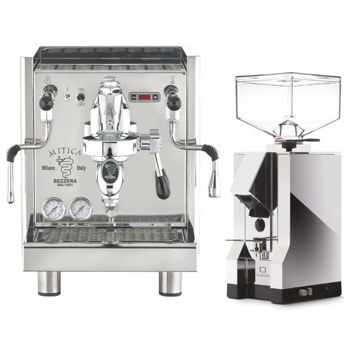 BEZZERA Mitica e61 Lever 2L Rotary Pump Tank/Plumb Espresso Coffee Machine - Eureka Mignon Silenzio Chrome Coffee Grinder Combo