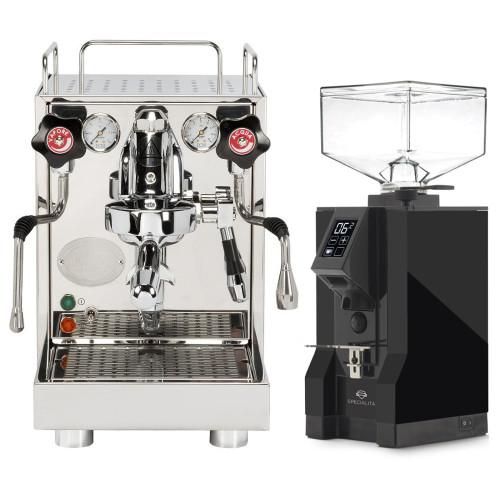 ECM Mechanika V Slim e61 Lever 2.2L Vibration Pump Tank - Eureka Mignon Specialita Black Coffee Grinder Combo