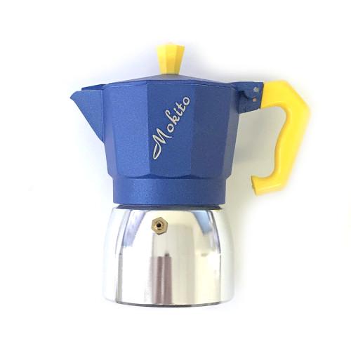 MOKITO 3 Cup Aluminium Stovetop Espresso Maker - Moka Pot - Blue