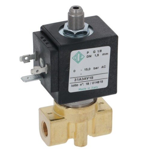 "3-Way Solenoid Valve 1/8"" BSPF - 1/8"" BSPM conical outlet - 230V - 9W - 31A3AV15 - ODE"