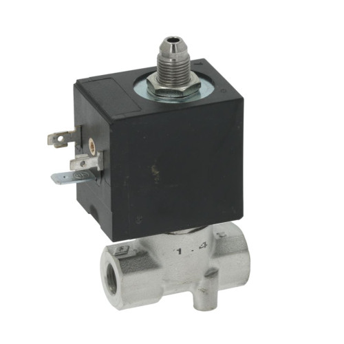"3-Way Solenoid Valve 1/8"" BSPF - 1/8"" BSPM conical outlet - 220/230V - 15VA - 8000BH/J5IV - OLAB"