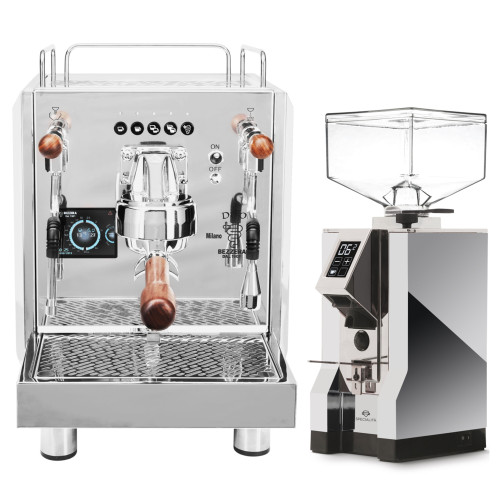 BEZZERA DUO PID Electronic Dose 0.45/1.0 litre Rotary Pump Tank and/or Plumbed Espresso Coffee Machine - Eureka Mignon Specialita Chrome Doser-less Coffee Grinder Combo