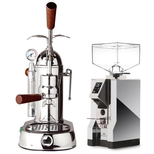 LA PAVONI GRAND ROMANTICA Lever 1.6 L Espresso Coffee Machine - EUREKA MIGNION SPECIALITA Chrome Doser-less Coffee Grinder Combo