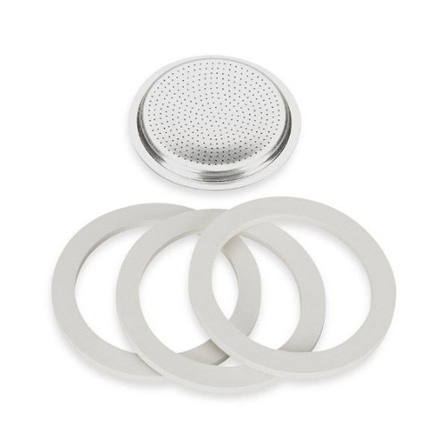 Stovetop Espresso Spare Parts - 3x Seals 1x Filter - BIALETTI Stainless Steel - 1-Cup / 2-Cup