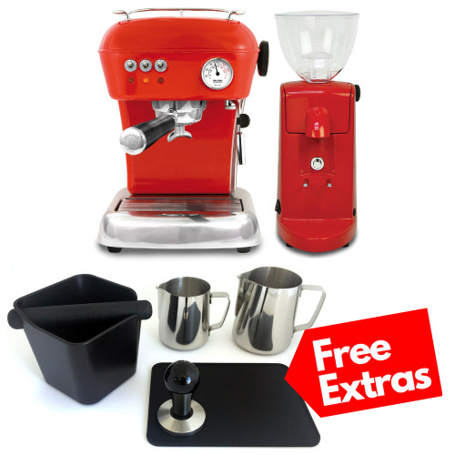 ASCASO DREAM Single Boiler Vibration Pump Espresso Coffee Machine - ASCASO I-MINI Doser-less Coffee Grinder - Gloss Red - Combo - With Free Extras