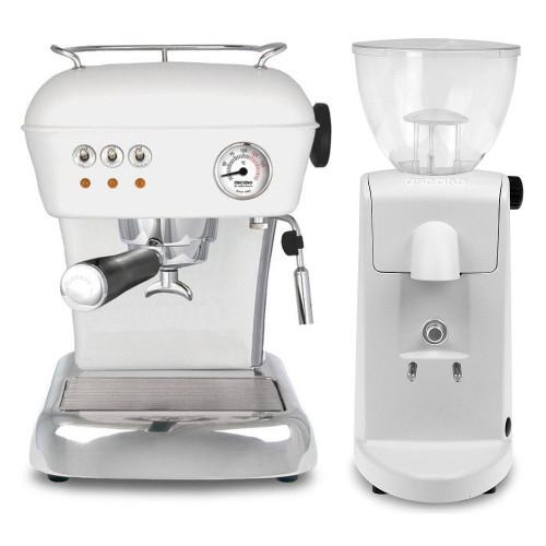 ASCASO DREAM Single Boiler Vibration Pump Espresso Coffee Machine - ASCASO I-MINI Doser-less Coffee Grinder - Matte White - Combo - With Accessory Package