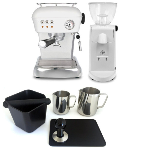 ASCASO DREAM Single Boiler Vibration Pump Espresso Coffee Machine - ASCASO I-MINI Doser-less Coffee Grinder - Matte White - Combo - With Accessory Package