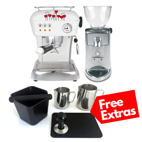 ASCASO DREAM Single Boiler Vibration Pump Espresso Coffee Machine - Love Hearts - ASCASO I-MINI Doser-less Coffee Grinder - Polished Aluminium - Combo - With Free Extras