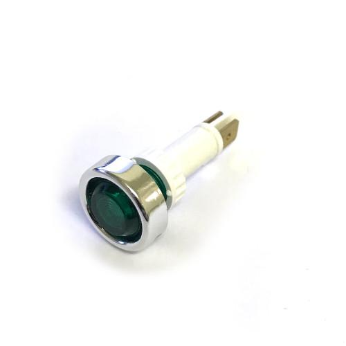 Green light / lamp - Silver Besel - Head OD20 mm - Hole OD 12 mm - 230 V