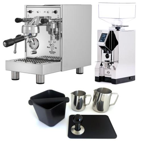 BEZZERA BZ10 1.5L Espresso Coffee Machine - EUREKA MIGNON SPECIALITA Coffee Grinder - CHROME - Combo - With Accessory Package