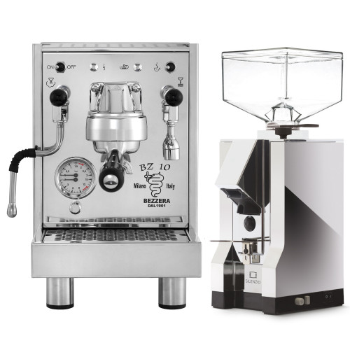 BEZZERA BZ10 1.5L Espresso Coffee Machine - EUREKA MIGNON SILENZIO Coffee Grinder - Chrome - Combo