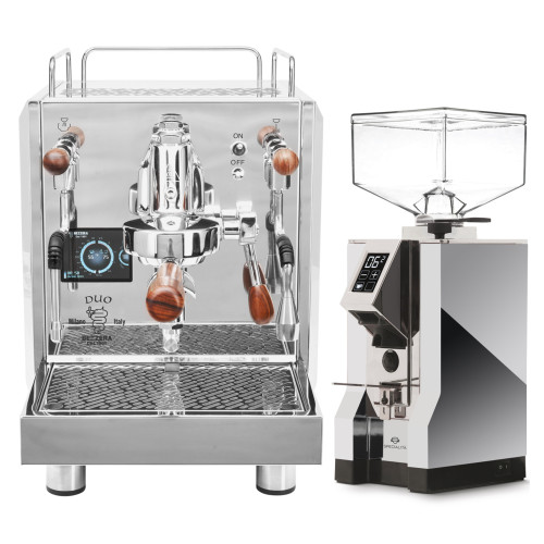 BEZZERA DUO e61 Double Boiler PID 0.45/1.0L Espresso Coffee Machine - EUREKA MIGNON SPECIALITA Coffee Grinder - CHROME - Combo