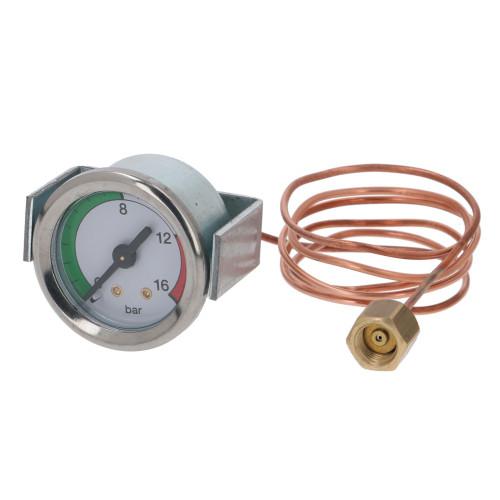 "Pump Pressure Gauge / Manometer 0-16 BAR - OD 44mm Hole 39mm 1/8"" BSPM Connection - ISOMAC IS000714"