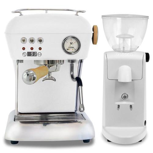 ASCASO DREAM PID Espresso Coffee Machine - ASCASO I-MINI Doser-less Coffee Grinder - MATTE WHITE - Combo