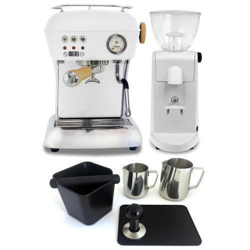 ASCASO DREAM PID Espresso Coffee Machine - ASCASO I-MINI Doser-less Coffee Grinder - MATTE WHITE - Combo - With Accessory Package