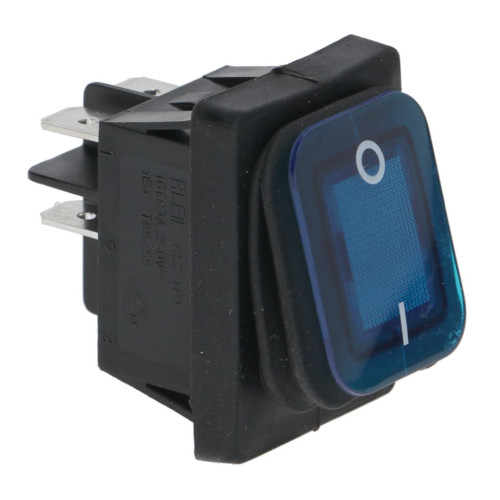 "Blue Illuminated DPST Switch ""I/O"" - 30mm x 22mm - 16A 250V"