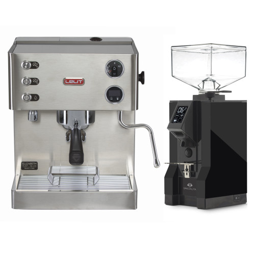 LELIT PL92T ELIZABETH Double Boiler PID Espresso Coffee Machine - EUREKA MIGNON SPECIALITA Coffee Grinder - Black - Combo